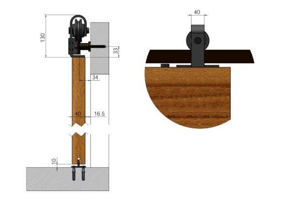 Doorsnede schuifdeursysteem bovenop