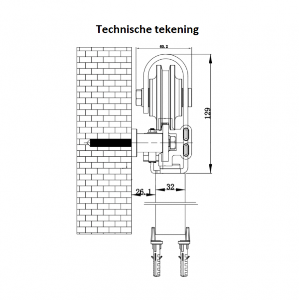 Technische tekening stalen schuifdeur