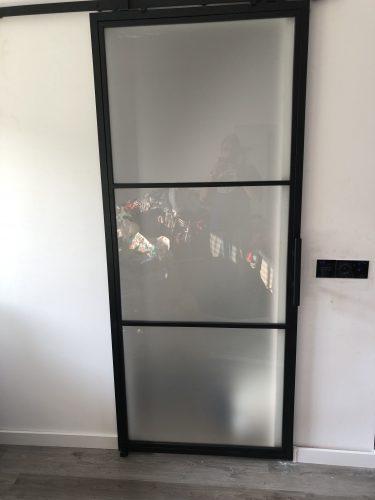 Stalen schuifdeur 3 vlakken (MAT GLAS) + Systeem photo review