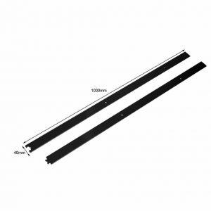 200 cm rails mat zwart