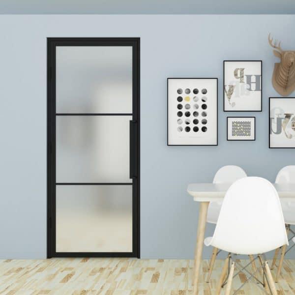 Stalen binnendeur met matglas