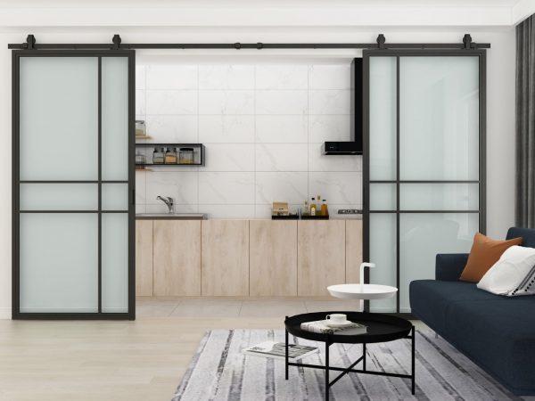 Dubbele stalen schuifdeur Luxury (HELDER GLAS) - open